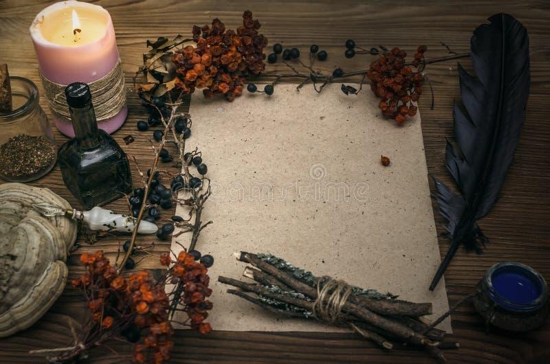Γιατρός μαγισσών σαμάνος witchcraft Μαγικός πίνακας εναλλακτικός δίσκος biloba λουτρών μπαμπού ginkgo items medicine spa στοκ φωτογραφία