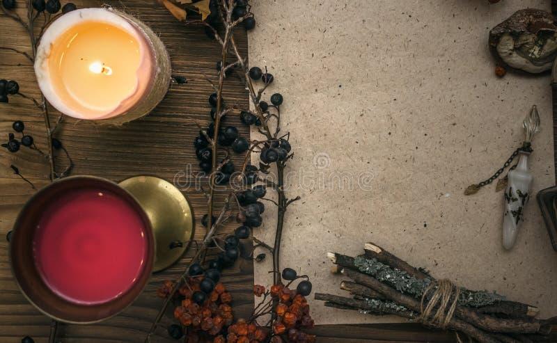 Γιατρός μαγισσών σαμάνος witchcraft Μαγικός πίνακας εναλλακτικός δίσκος biloba λουτρών μπαμπού ginkgo items medicine spa στοκ εικόνα