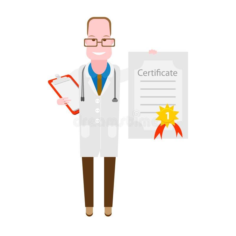 Γιατρός με ένα πιστοποιητικό διανυσματική απεικόνιση