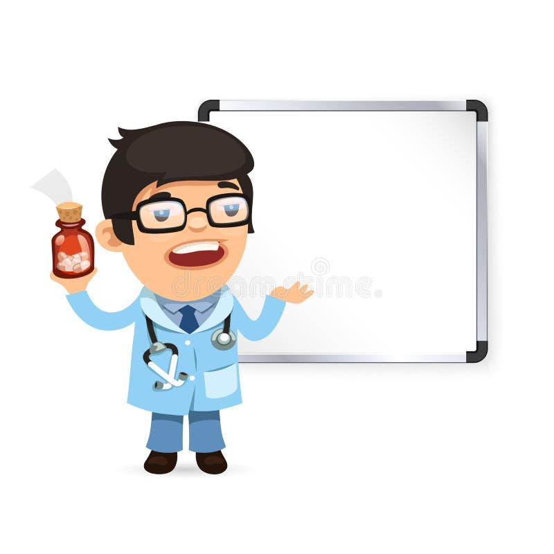 Γιατρός με τα χάπια μπροστά από το Whiteboard ελεύθερη απεικόνιση δικαιώματος