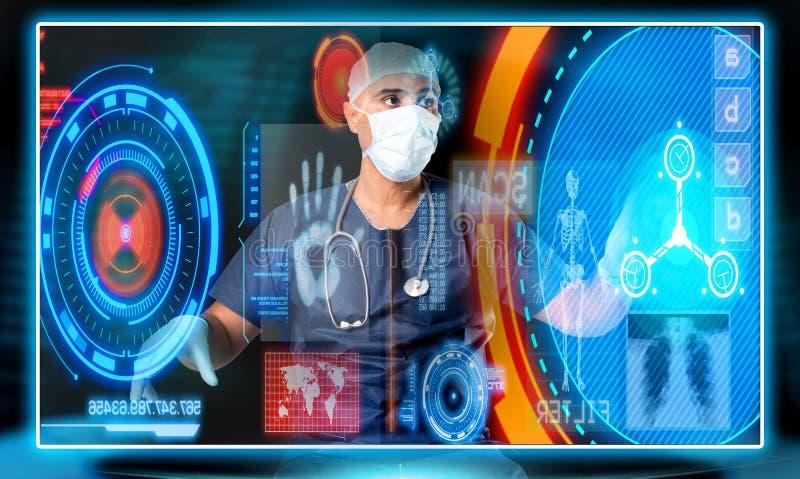 Γιατρός με τις οθόνες στοκ φωτογραφίες