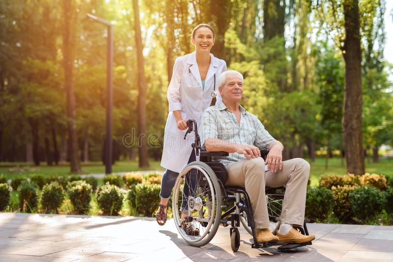 Γιατρός με τον ηληκιωμένο στην αναπηρική καρέκλα που περπατά στο ηλιόλουστο πάρκο στοκ φωτογραφία