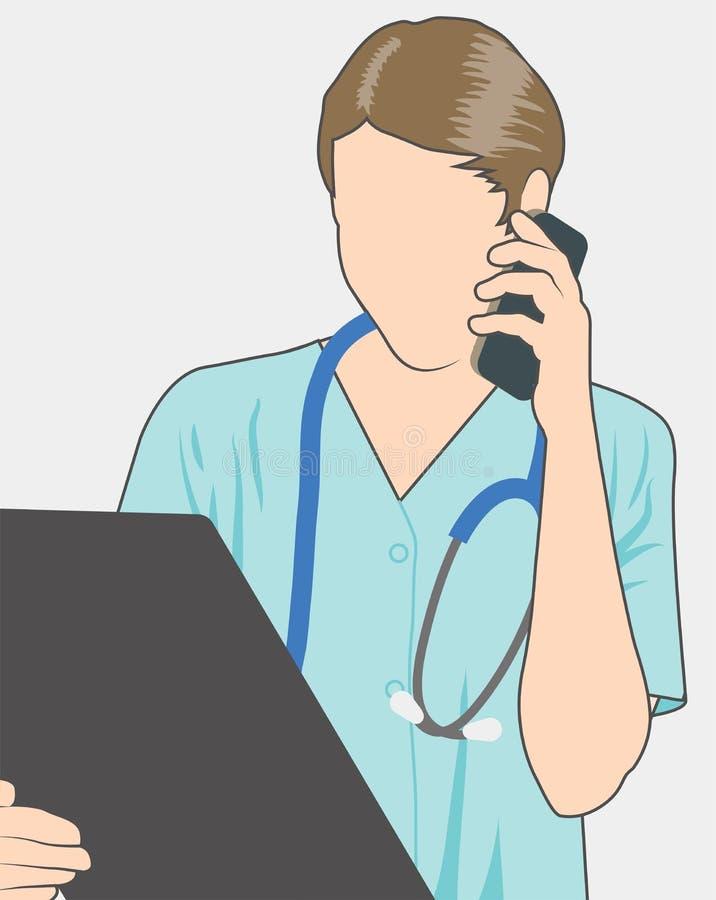 Γιατρός με το στηθοσκόπιο & διάγραμμα στο τηλέφωνο απεικόνιση αποθεμάτων