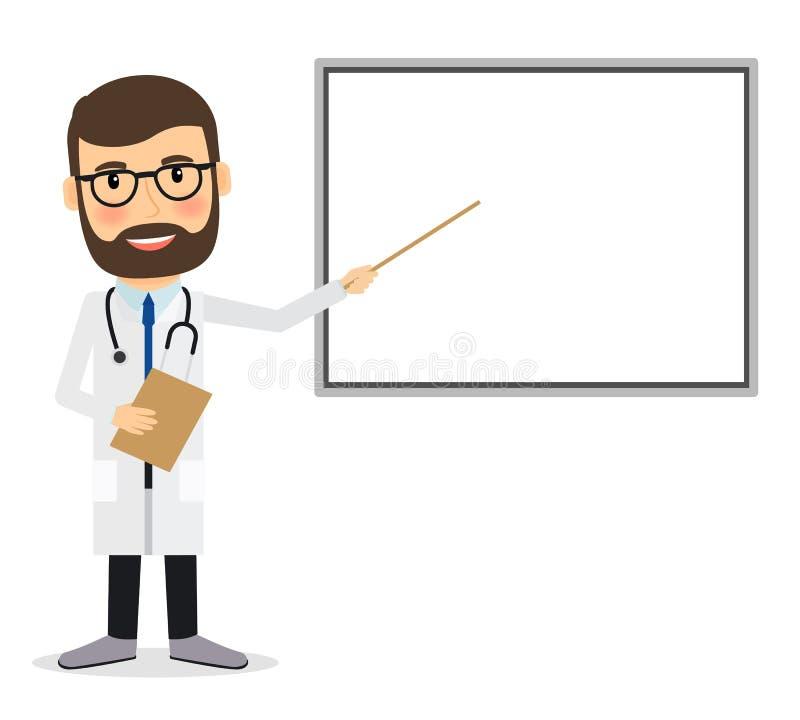 Γιατρός με το whiteboard διανυσματική απεικόνιση