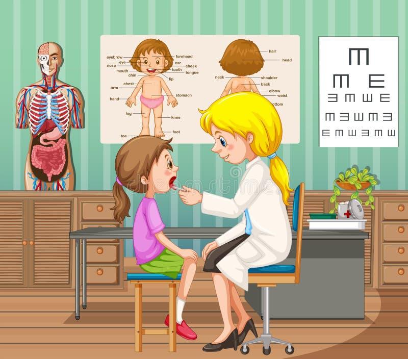 Γιατρός που δίνει την επεξεργασία στο μικρό κορίτσι στην κλινική απεικόνιση αποθεμάτων