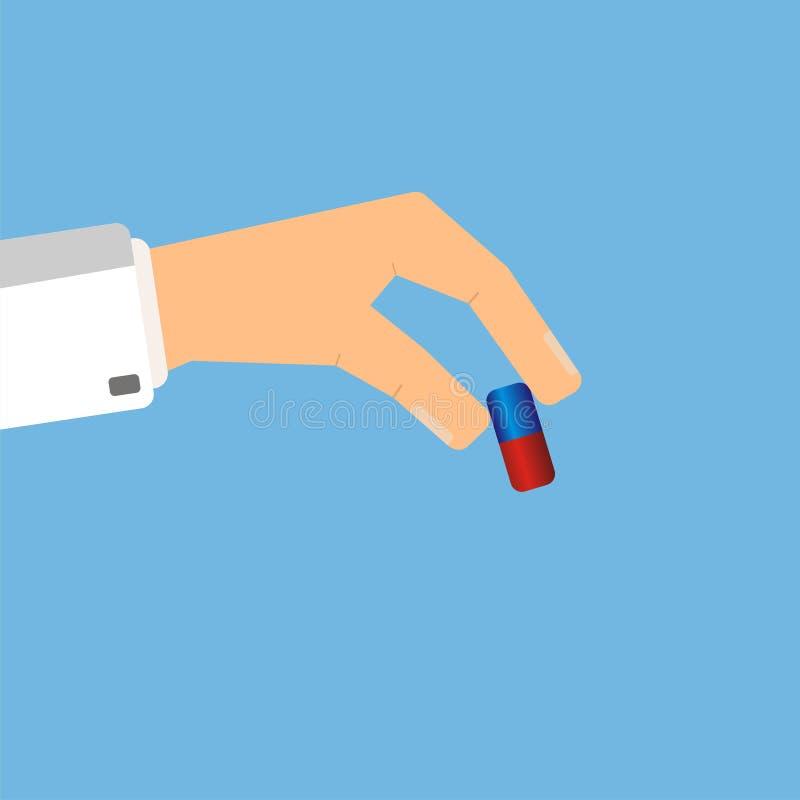 Γιατρός που δίνει το χάπι ιατρικής όντας χέρι έννοιας έχει το πρόσφατο χάπι οδηγιών υγειονομικής περίθαλψης Διανυσματικό illustra διανυσματική απεικόνιση