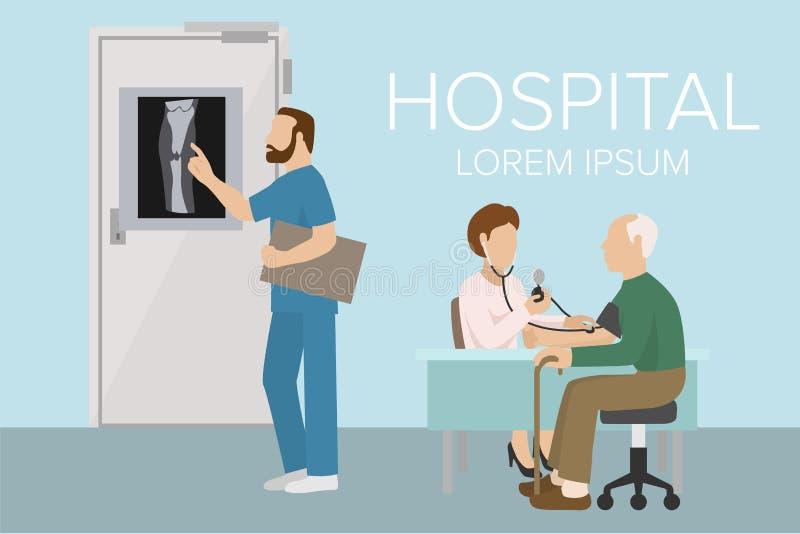 Γιατρός που ελέγχει το παλαιό έμβλημα πίεσης του αίματος ατόμων υπομονετικό αρτηριακό Διανυσματική απεικόνιση υγειονομικής περίθα διανυσματική απεικόνιση