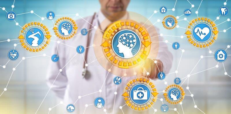 Γιατρός που ενεργοποιεί τα ιατρικά πράγματα μέσω Διαδικτύου στοκ φωτογραφία με δικαίωμα ελεύθερης χρήσης