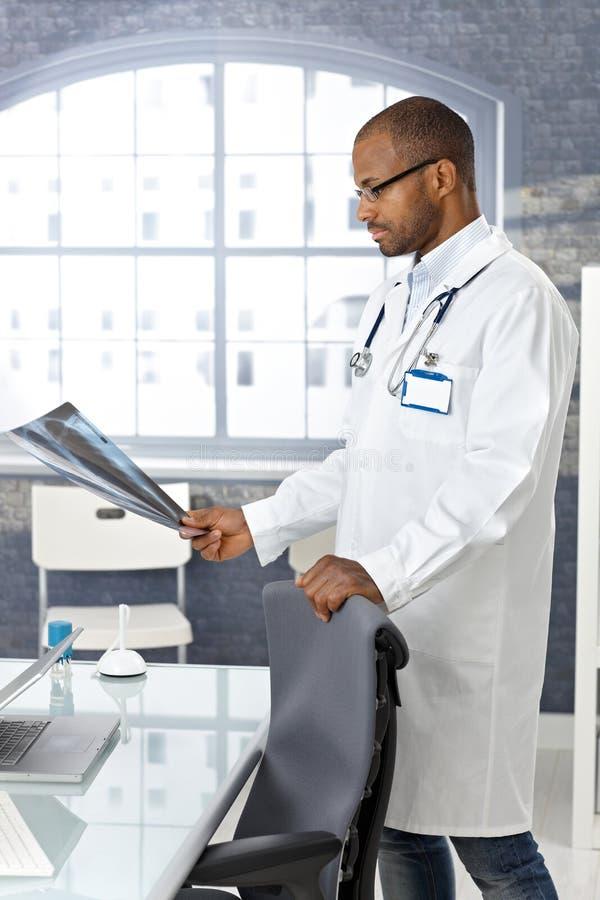 Γιατρός που εξετάζει την των ακτίνων X εικόνα στοκ φωτογραφίες