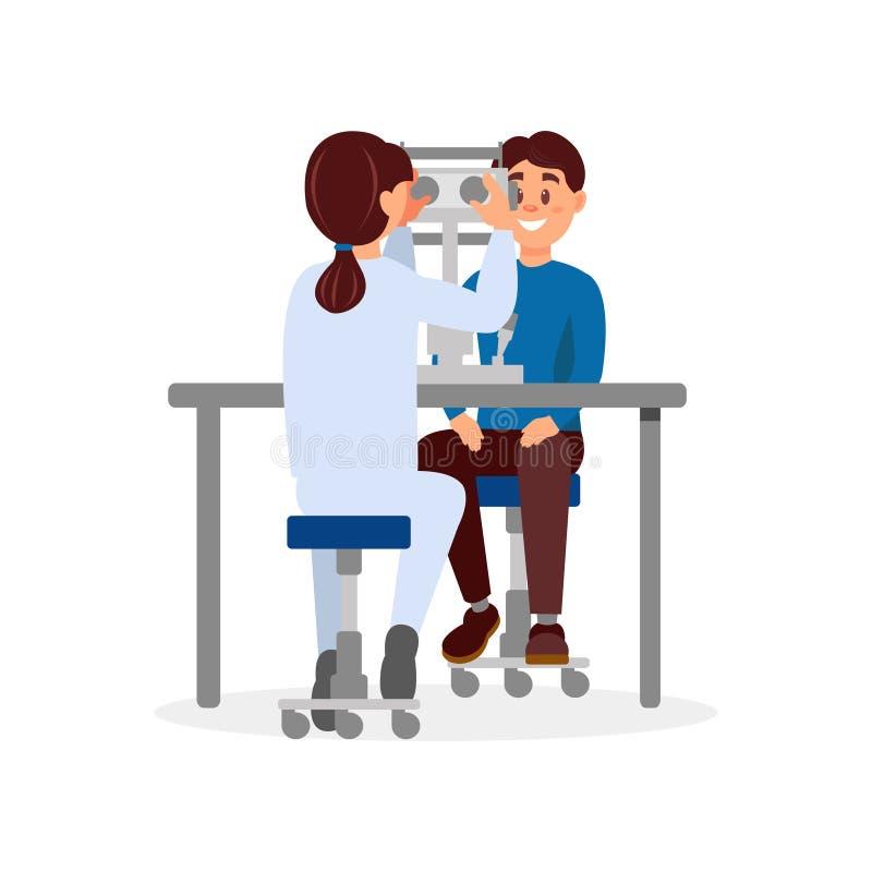 Γιατρός που εξετάζει την υπομονετική όραση του s που χρησιμοποιεί τον επαγγελματικό οφθαλμολογικό εξοπλισμό ιατρική υπηρεσία υγει διανυσματική απεικόνιση