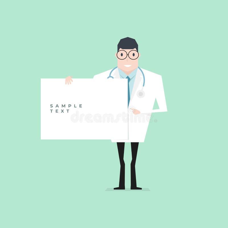 Γιατρός που κρατά ένα κενό φύλλο και που δείχνει από το αντίχειρα απεικόνιση αποθεμάτων