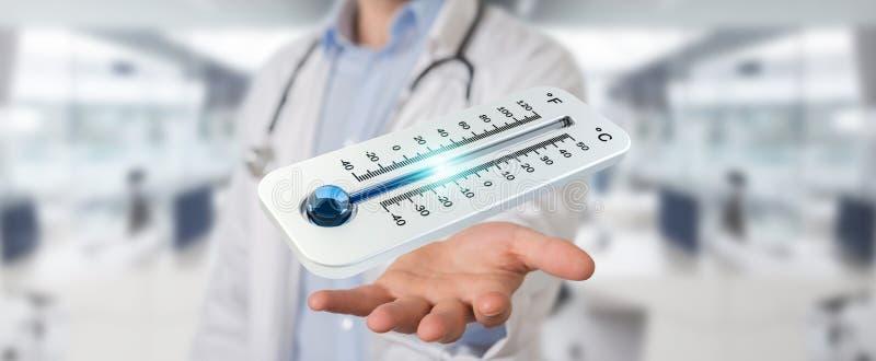 Γιατρός που κρατά κόκκινος - καυτή ψηφιακή τρισδιάστατη απόδοση θερμομέτρων ελεύθερη απεικόνιση δικαιώματος