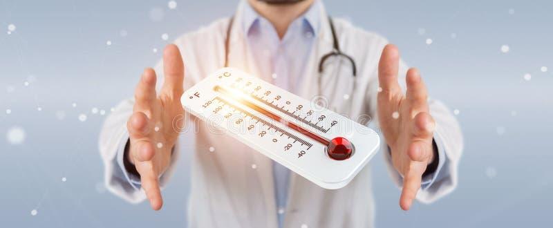 Γιατρός που κρατά κόκκινος - καυτή ψηφιακή τρισδιάστατη απόδοση θερμομέτρων διανυσματική απεικόνιση