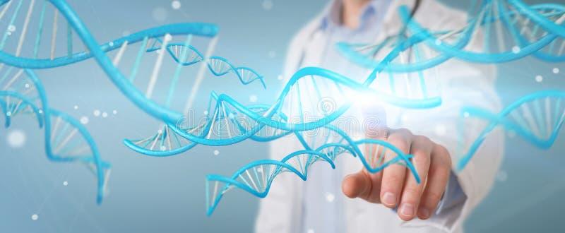 Γιατρός που κρατά την μπλε ψηφιακή τρισδιάστατη απόδοση δομών DNA ελεύθερη απεικόνιση δικαιώματος
