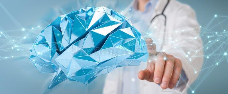 Γιατρός που κρατά την ψηφιακή τρισδιάστατη απόδοση διεπαφών εγκεφάλου απεικόνιση αποθεμάτων