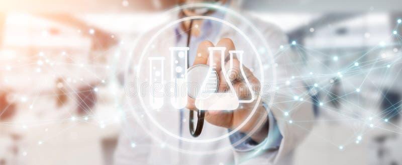 Γιατρός που κρατά την ψηφιακή τρισδιάστατη απόδοση εικονιδίων αποτελέσματος ανάλυσης απεικόνιση αποθεμάτων
