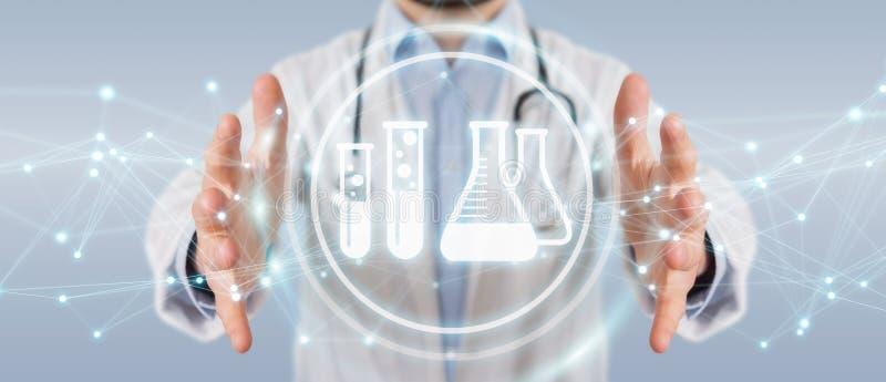 Γιατρός που κρατά την ψηφιακή τρισδιάστατη απόδοση εικονιδίων αποτελέσματος ανάλυσης διανυσματική απεικόνιση