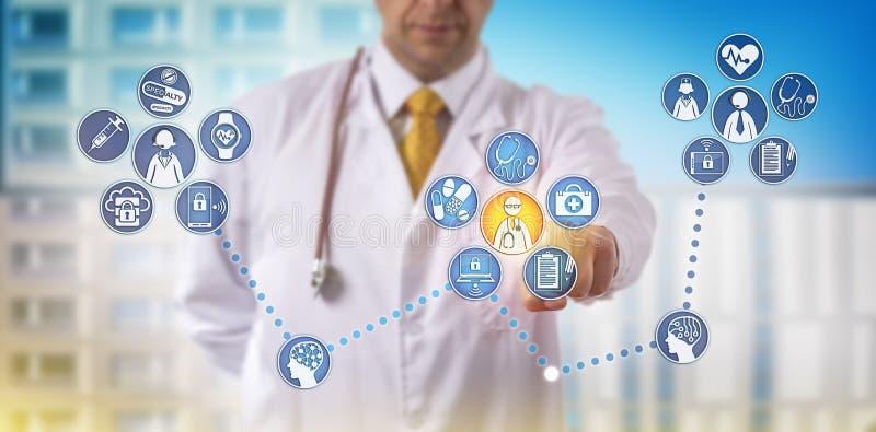 Γιατρός που παρέχει την τηλεϊατρική ειδικότητας μακρινά ελεύθερη απεικόνιση δικαιώματος