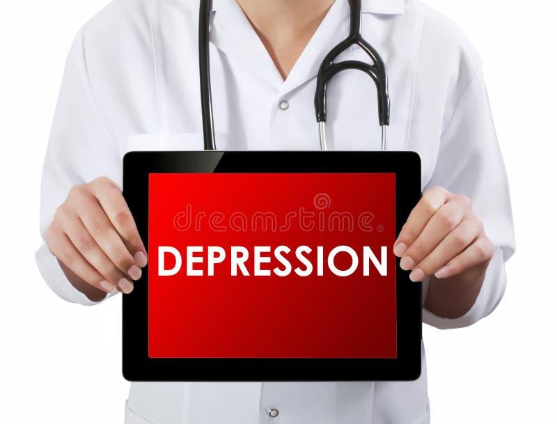 Γιατρός που παρουσιάζει ταμπλέτα με το κείμενο ΚΑΤΑΘΛΙΨΗΣ στοκ εικόνες