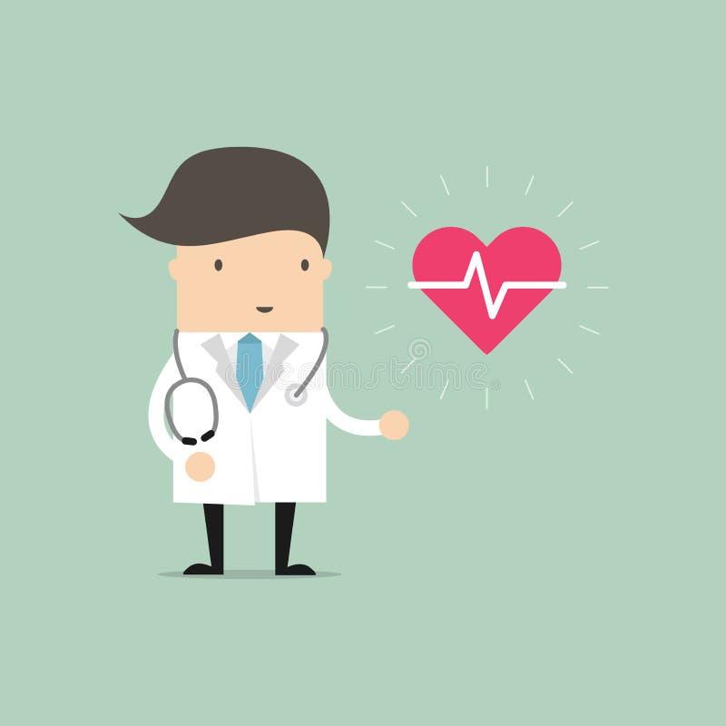 Γιατρός που στέκεται με το σημάδι του κτύπου της καρδιάς ελεύθερη απεικόνιση δικαιώματος