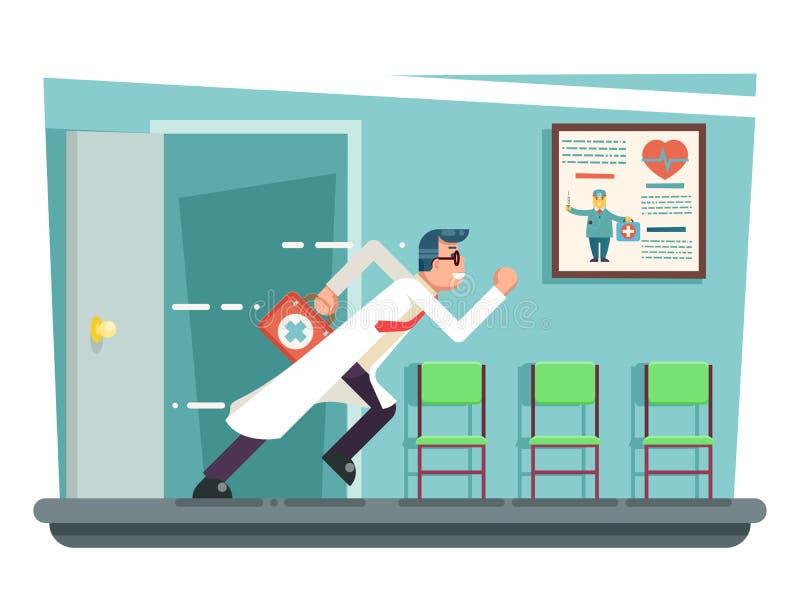 Γιατρός που τρέχει έξω διαβούλευσης δωματίων πορτών διανυσματική απεικόνιση σχεδίου διαμερισμάτων χαρακτήρα κινουμένων σχεδίων κλ διανυσματική απεικόνιση