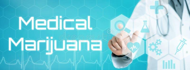 Γιατρός σχετικά με ένα εικονίδιο σε μια φουτουριστική διεπαφή - ιατρική μαριχουάνα στοκ εικόνες