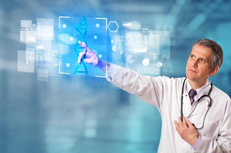 Γιατρός σχετικά με την οθόνη με τη βιολογία και τη γενετική έννοια απεικόνιση αποθεμάτων