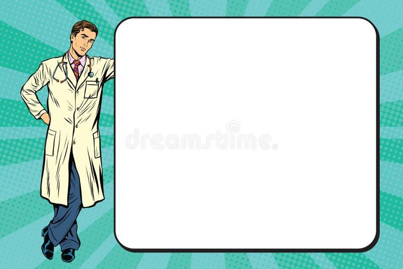 Γιατρός της ιατρικής δίπλα σε μια αφίσα διανυσματική απεικόνιση