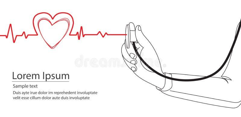 Γιατρός Doodle που χρησιμοποιεί το στηθοσκόπιο σχεδίων γραμμών απεικόνιση αποθεμάτων