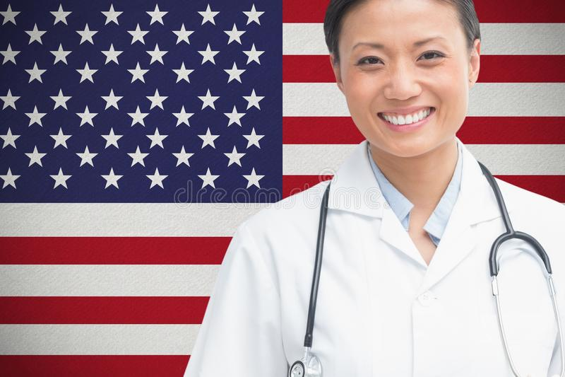 γιατρών ενάντια στη αμερικανική σημαία στοκ φωτογραφία με δικαίωμα ελεύθερης χρήσης