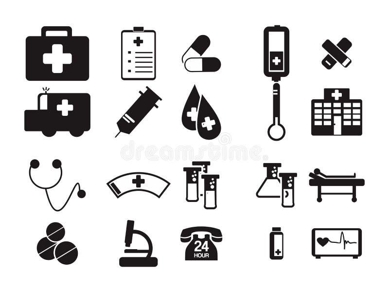 Γιατρών ιατρικό νοσοκομείων εξοπλισμού σύμβολο εικονιδίων εργαλείων μαύρο απεικόνιση αποθεμάτων