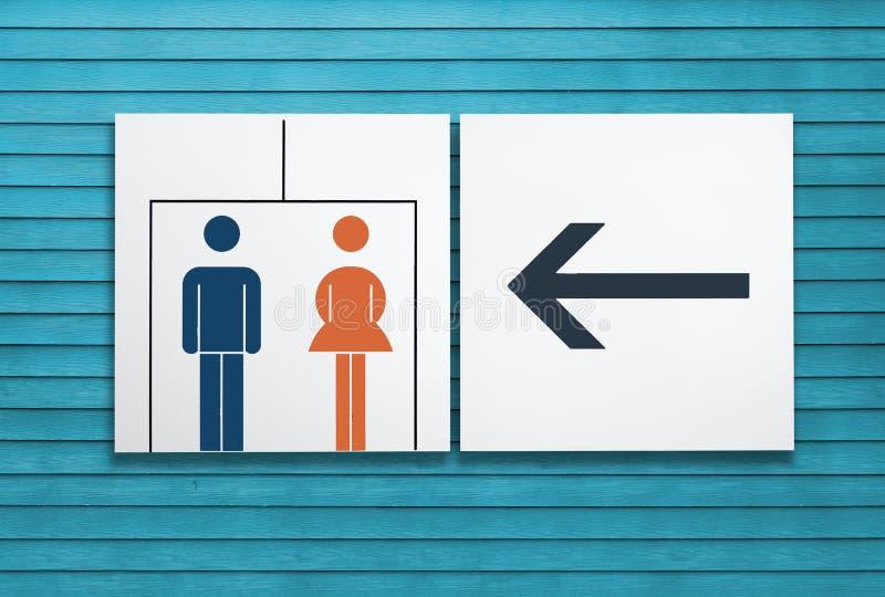 Για άνδρες και για γυναίκες χώρος ανάπαυσης ή τουαλέτα και σημάδι βελών ελεύθερη απεικόνιση δικαιώματος