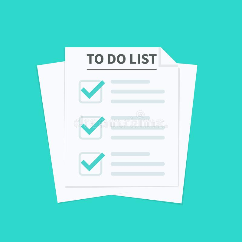 Για να κάνει τον κατάλογο ή την έννοια προγραμματισμού Τα φύλλα εγγράφου με το εικονίδιο σημαδιών ελέγχου, όλοι οι στόχοι ολοκληρ απεικόνιση αποθεμάτων