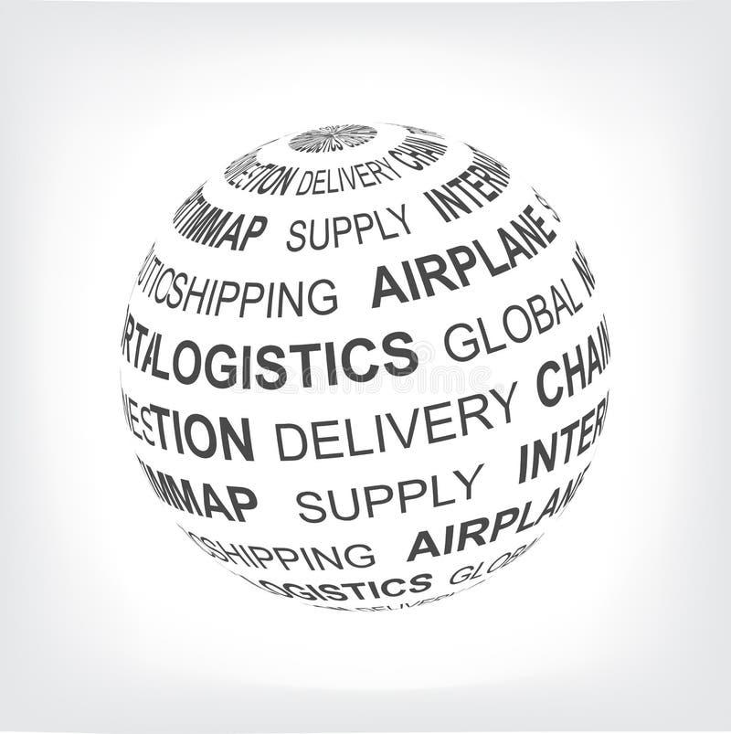 Για την διοικητική μέριμνα αντίληψη Παγκόσμιο δίκτυο διοικητικών μεριμνών Σφαίρα με τους διαφορετικούς όρους ένωσης σε γκρίζο διανυσματική απεικόνιση