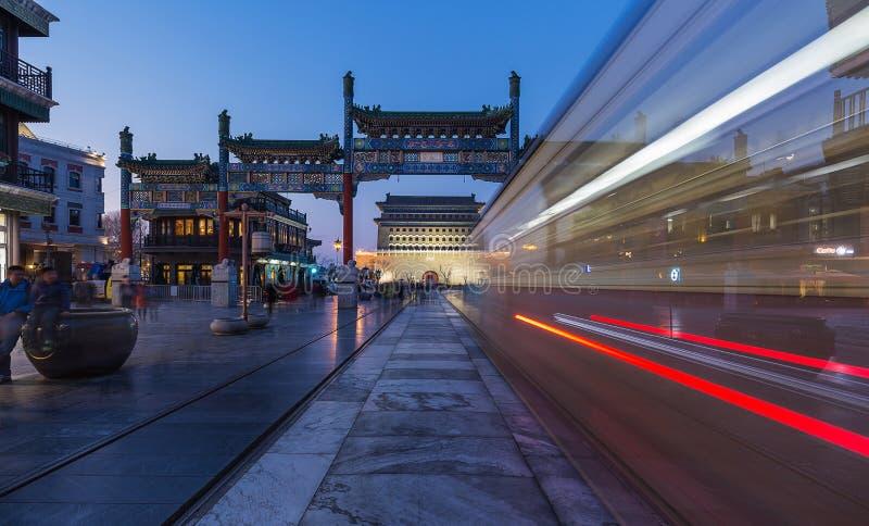 Για τους πεζούς οδός του Πεκίνου Qianmen στοκ εικόνες