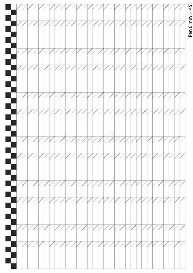 Για το παράλληλο nib μανδρών καλλιγραφίας μέγεθος 6 χιλ. φύλλο εργασίας μεγέθους εγγράφου A4 πρακτικής εγγραφής και γραφής διανυσματική απεικόνιση