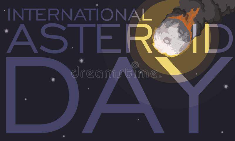 Γιγαντιαία άποψη μετεωριτών κατά τη διάρκεια του διεθνούς αστεροειδούς εορτασμού ημέρας, διανυσματική απεικόνιση διανυσματική απεικόνιση