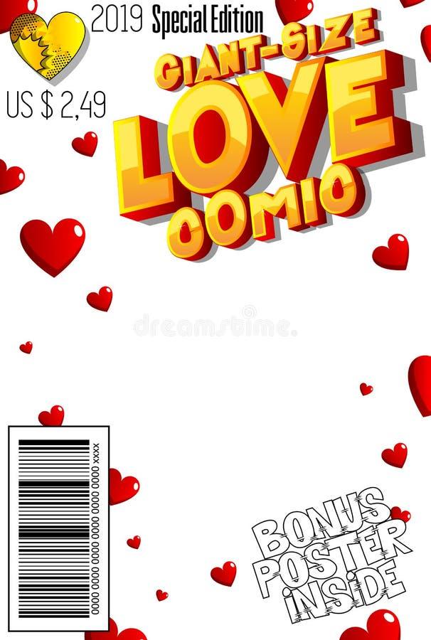 Γιγαντιαία κάλυψη κόμικς αγάπης μεγέθους Editable διανυσματική απεικόνιση