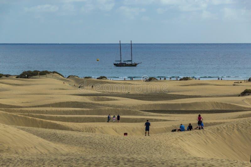 Γιγαντιαίοι αμμόλοφοι άμμου Maspslomas, Gran Canariam Ισπανία στοκ εικόνες