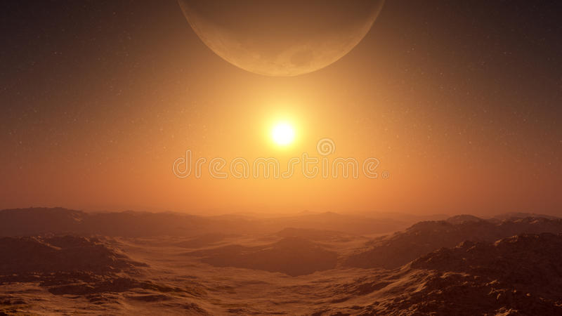 Γιγαντιαίο φεγγάρι πέρα από το ηλιοβασίλεμα ερήμων ελεύθερη απεικόνιση δικαιώματος