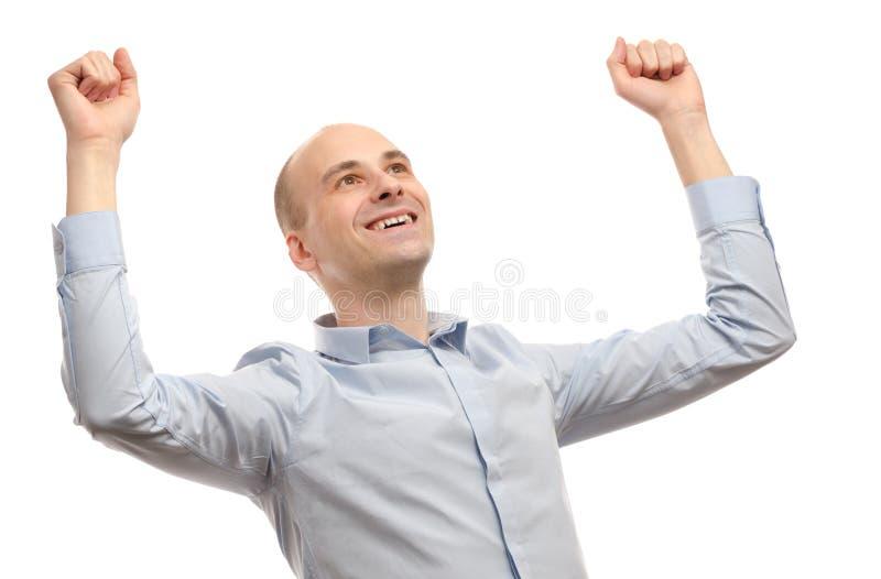 γιορτάζοντας νεολαίες επιτυχίας χεριών άτομο στοκ εικόνες