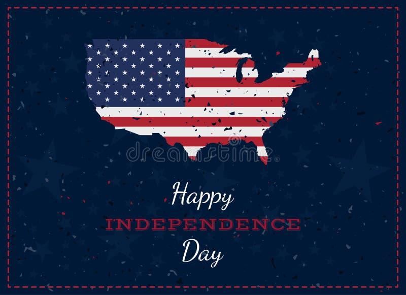 Γιορτάστε ευτυχή 4ο του Ιουλίου - ημέρα της ανεξαρτησίας Εκλεκτής ποιότητας αναδρομική ευχετήρια κάρτα με την ΑΜΕΡΙΚΑΝΙΚΗ σημαία  ελεύθερη απεικόνιση δικαιώματος