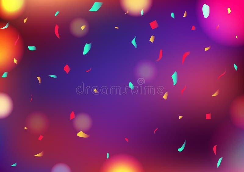 Γιορτάστε κομμάτων το μουτζουρωμένο ζωηρόχρωμο κομφετί διακοσμήσεων υποβάθρου Bokeh αφηρημένο που πέφτει, διάνυσμα έννοιας γεγονό ελεύθερη απεικόνιση δικαιώματος