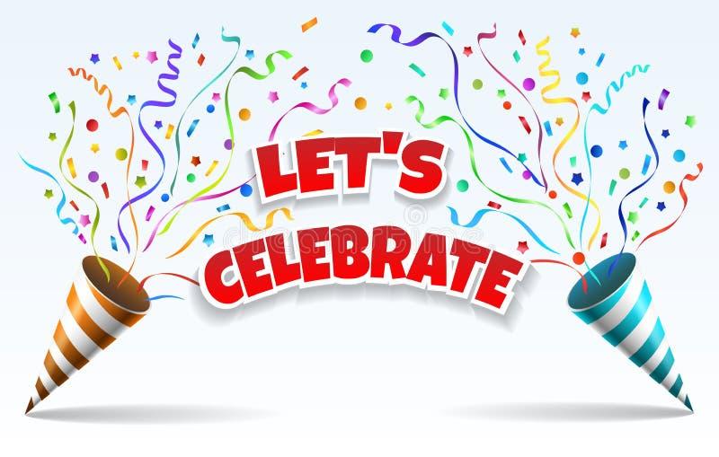 Γιορτάστε τα poppers κομμάτων διανυσματική απεικόνιση