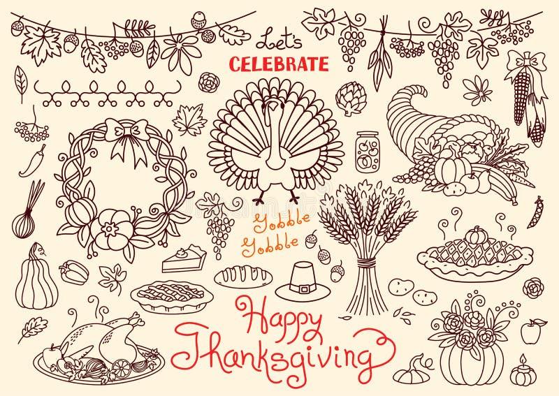 Γιορτάστε την ευτυχή ημέρα των ευχαριστιών doodles θέτει απεικόνιση αποθεμάτων