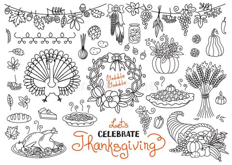 Γιορτάστε την ημέρα των ευχαριστιών doodles θέτει απεικόνιση αποθεμάτων