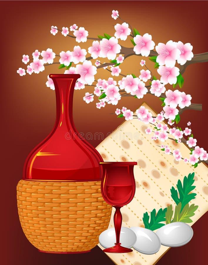 γιορτάστε το εβραϊκό matzo αυγών passover pesach ελεύθερη απεικόνιση δικαιώματος
