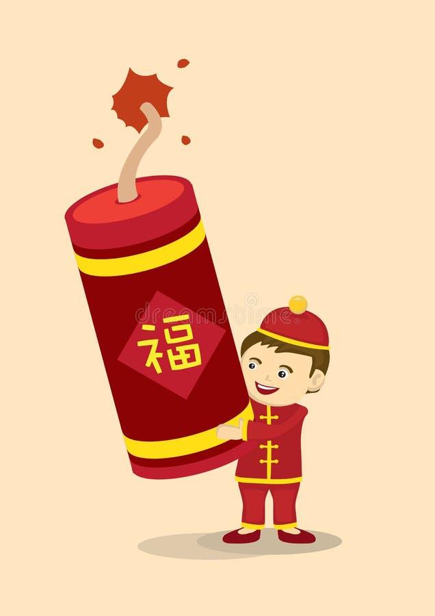 Γιορτάστε το κινεζικό νέο έτος με τη γιγαντιαία κροτίδα πυρκαγιάς απεικόνιση αποθεμάτων