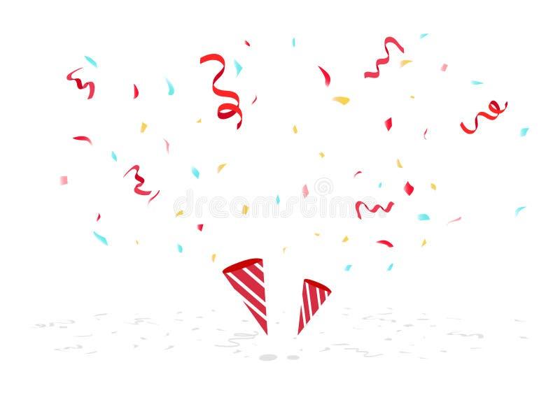 Γιορτάστε το κομφετί, τις κορδέλλες και το έγγραφο που αφορούν το πάτωμα, διάνυσμα υποβάθρου διακοσμήσεων κομμάτων διακοπών ελεύθερη απεικόνιση δικαιώματος