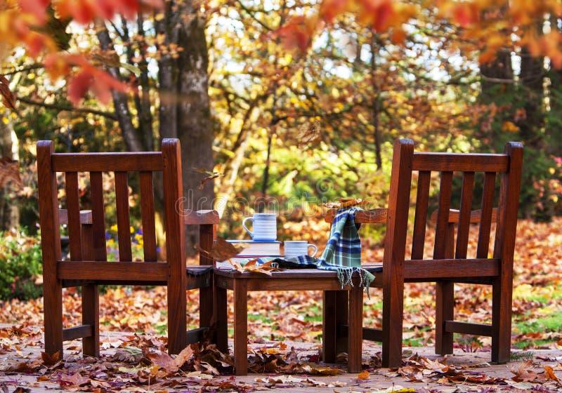 Γιορτή του Φθινοπώρου Δύο Ξύλινα Καθίσματα Βιβλία στοκ φωτογραφίες με δικαίωμα ελεύθερης χρήσης